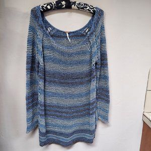 Free People Stripe Crochet Open Knit Tunic Sweater